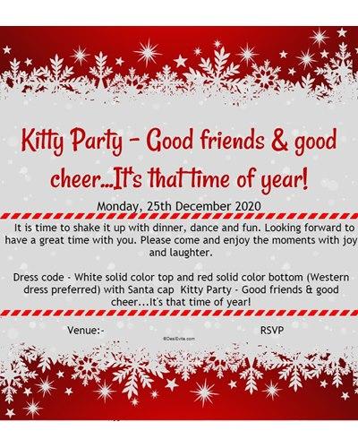 Christmas Kitty Party Invitation e-card