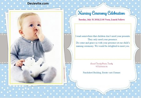 Naming ceremony invitation
