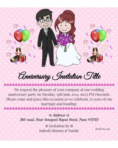 25th wedding Anniversary Invite you all