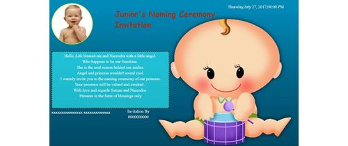 Naming ceremony invitation indian