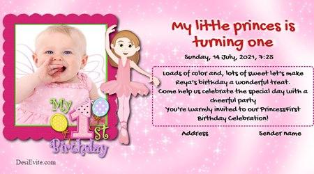 1st Birthday Invitation for girls