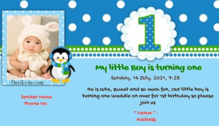 Baby boy first birthday invitation card with penguin