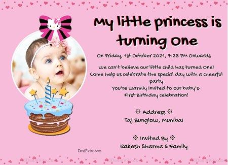 First birthday ecard for baby girl with photo upload option