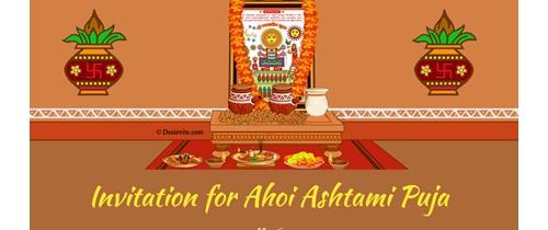 Invitation for Ahoi Ashtami Puja