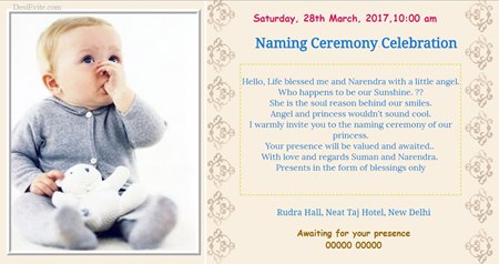 Kuan poojan invitation card/ Naming Ceremony