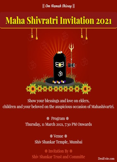 Mahashivratri puja invitation card without-photo