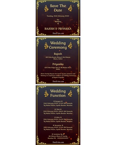 Multiple function 3 pages wedding ecard with PDF download