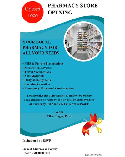 free pharmacy store inauguration card with photo upload