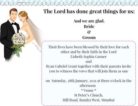 Christian wedding invitation ecard  couple with flower bouquet theme