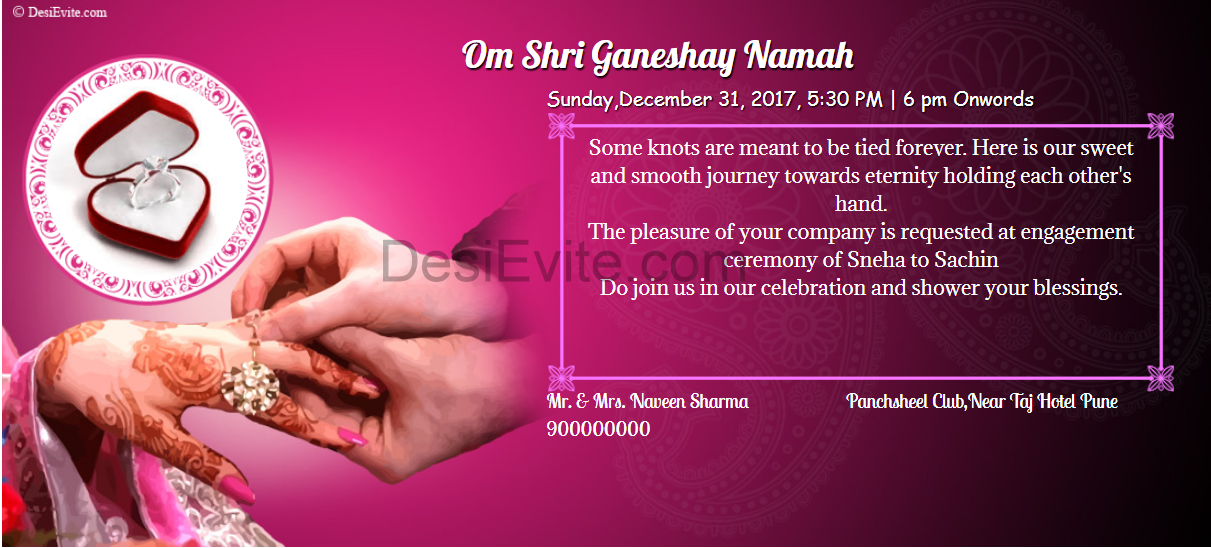 Hindi engagment invitation card sample