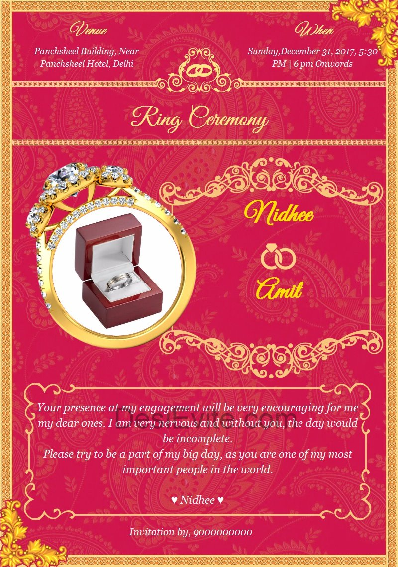 Indian Engagement Invitation Sample Cards And Wording