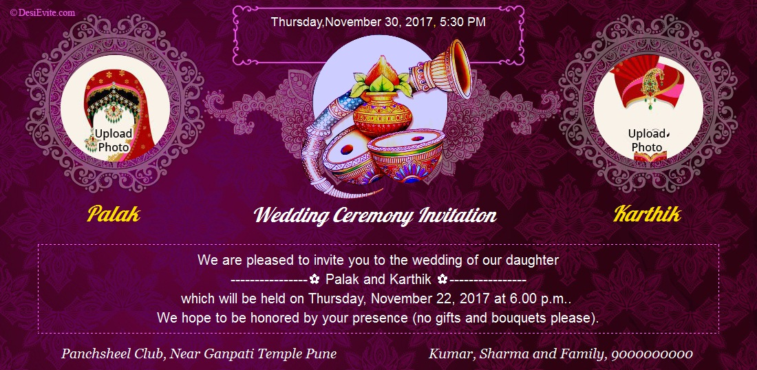 Indian Wedding Invitation Sample Cards And Wording