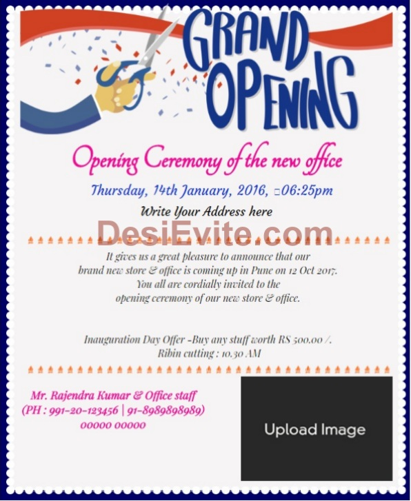 Shop Opening Office Inauguration Invitation Wording